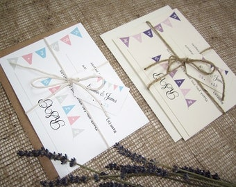 Rustic bunting wedding invitation with rsvp, twine and tag / kraft card invitation  / vintage wedding / country wedding / village fete
