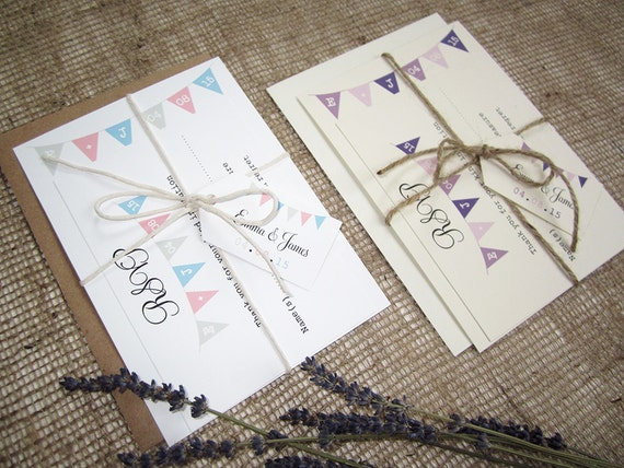 Rustic Bunting Wedding Invitation With Rsvp Twine And Tag