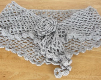 Shimmery silver crochet flower shawl road-trip scarf gift for mum