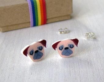 Pug Stud Illustrated Acrylic Earrings - Pug Jewellery