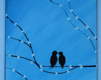 Original acrylic abstract blue lovebirds painting