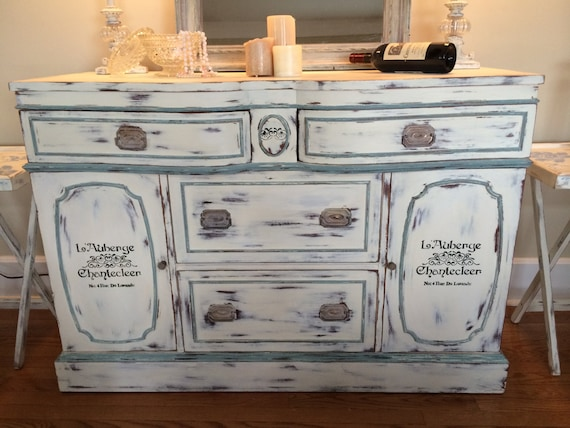 Buffet Side Server Distressed Vintage Hand Painted Shabby