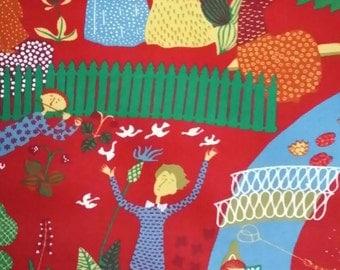 Stig Lindberg fabric Lustgården made in Sweden 60s
