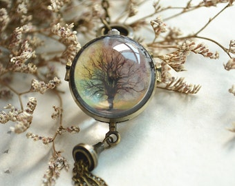 Tree Pocket Watch,Colorful life tree pendent Necklace,Double sides ball pocket watch necklace,four seasons tree,tassel jewelry (HB006)