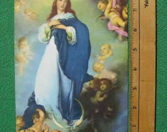 "Vintage 1940's Art Print Titled "" Immaculate Conception "" by Artist Bartolome Esteban Murillo Mint Condition Oldie"