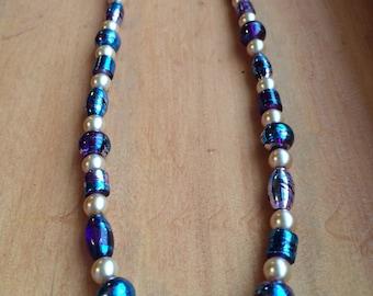 Purple, Silver and Cream Sumple Necklace