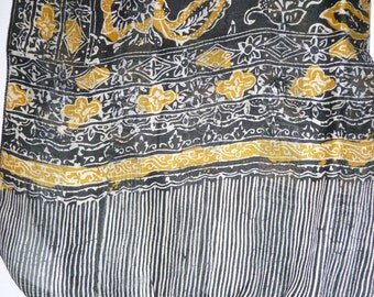 Silk scarf black and yellow ref.9