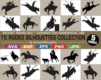 Licensed for COMMERCIAL USE - 15 Western Rodeo Cutting Files / Clip Art Collection - 5 Formats - svg, dxf, jpg, png, eps