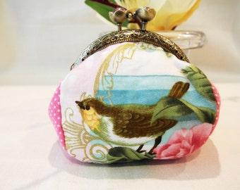 Coin Purse with Metal Frame in Bronze-Romantic Feel Cotton Fabric