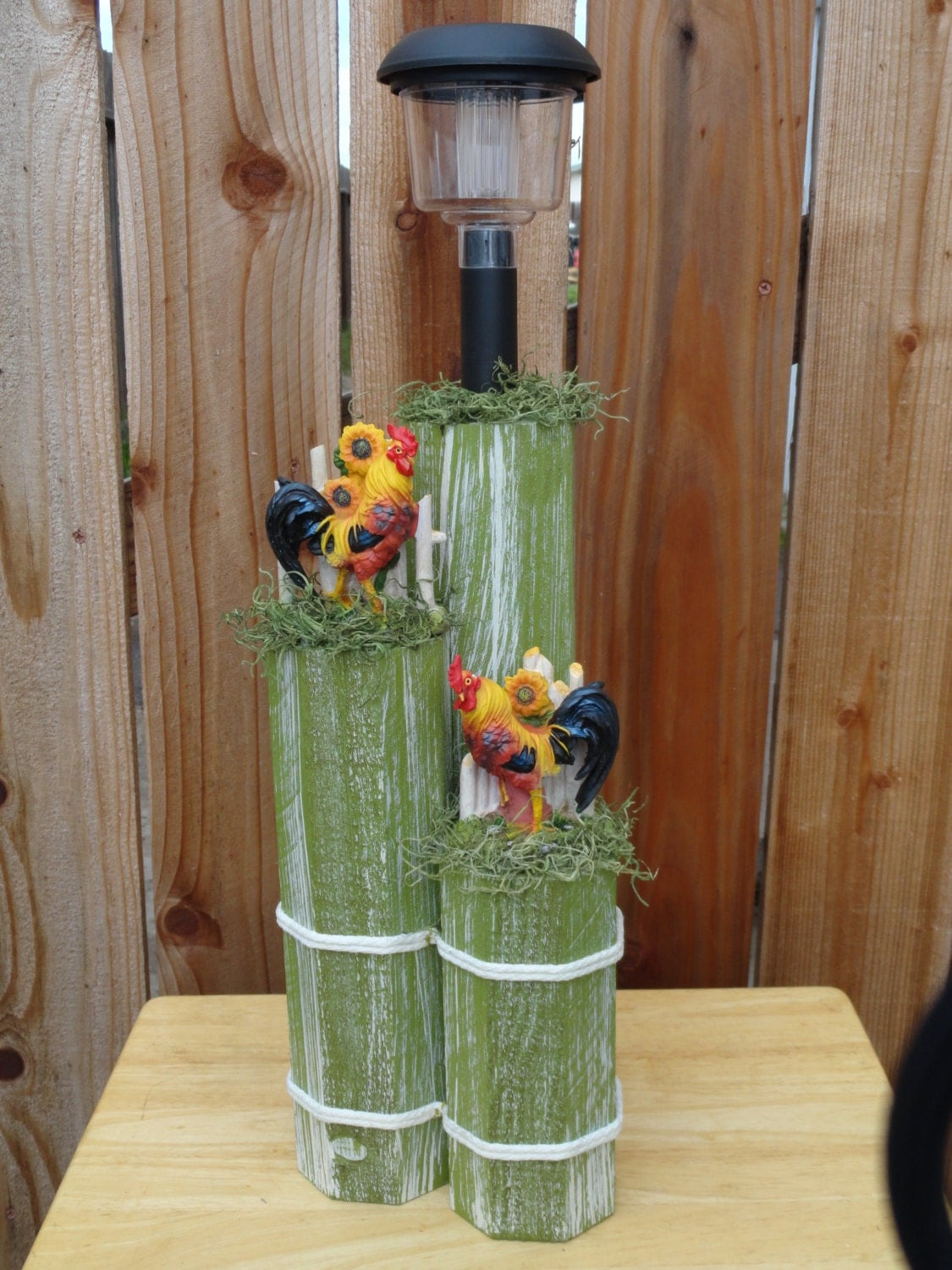 Wooden Post Decor With Solar Light And By Tealribbonscrafts