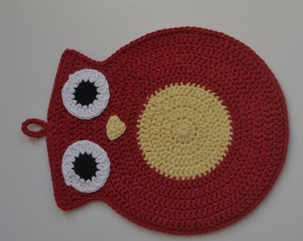 Cotton Double Layered Crochet Crimson Red and Yellow Owl Pot Holder, Hot Pads, Owl Trivet, Housewarming Gift, Home Gift,