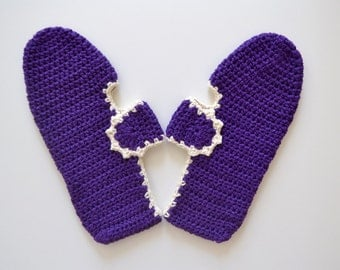 Cotton Slippers in Purple with Ecru Trimmings, Crochet House Shoes, Home Shoes, Women Accessories