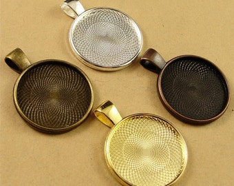 6 Pendant Trays - 1 inch round Silver, Antique Bronze, Antique Silver, or Gold - Blank Bezel Cabochon Setting