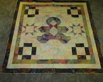 Teddy Bear Pattern Baby Quilt Made from Batik Fabrics