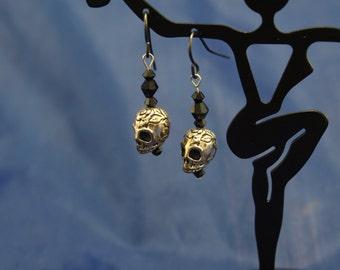 Rose Skull and Swarovski Earrings