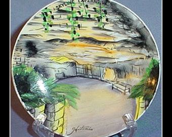 Skyline Caverns Front Royal Virginia Souvenir Travel Plate Signed Hitomis