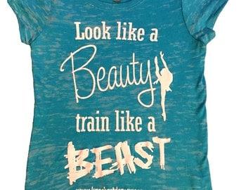 """Girls """"Look Like A Beauty Train Like A Beast"""" T-Shirt (youth large)"""