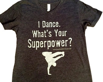 """Boys """"I Dance. What's Your Superpower?"""" T-Shirt- youth large"""