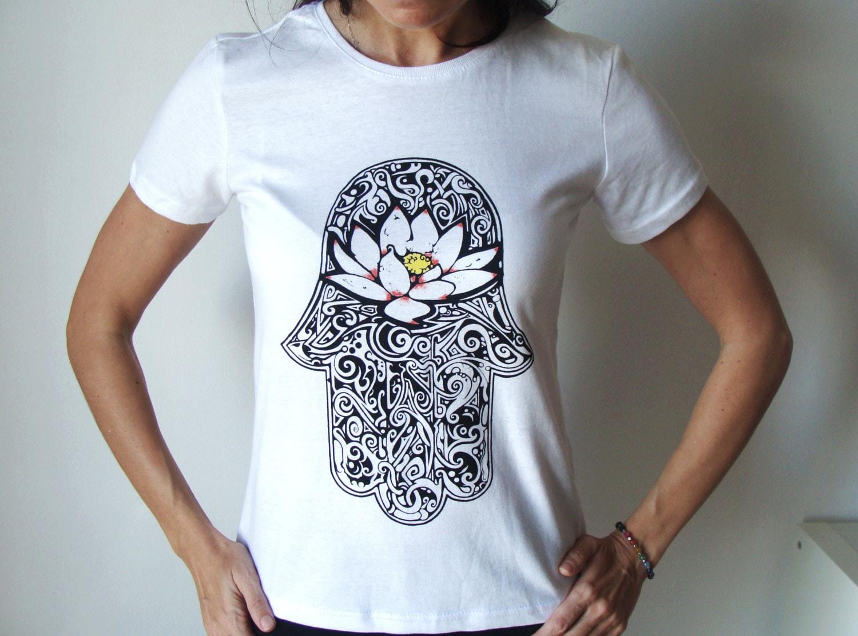 Hamsa t shirt screen printed tee spiritual t shirt for Where to get t shirts printed