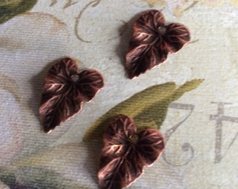 Antique copper brass .75 inch leaf charms 6 pc