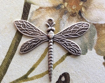 Antique silver brass dragonfly pendant