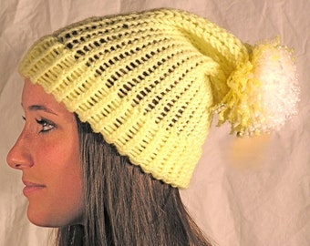 Yellow Slouch Hat With White Pom Pom
