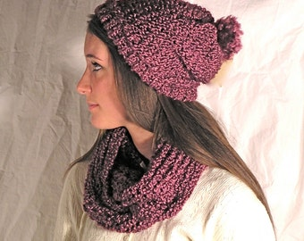 Winter Slouch Hat with matching Infinity Scarf