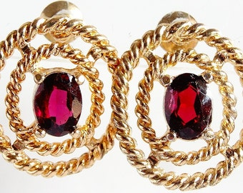 Vintage Oval Shape Pierced Earring Claret Colour Centre Rhinestone Gold Tone Rope Effect c1970's Cut Out Oval Shape Beautiful Day or Evening