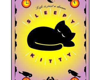 Sleepy Kitty: Digital Print on Archival Paper