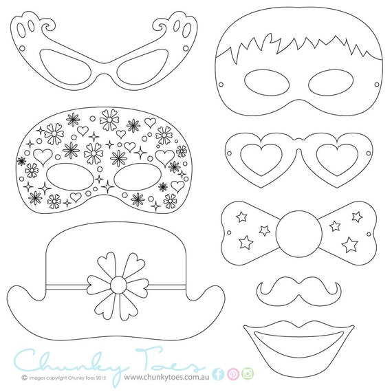 Kids Colouring In Masks Photo Booth Props Rainy Day