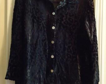 Vintage Robert Louis, Black Silk Blouse Velvet,  Size Medium, with Mother of Pearl Bottons
