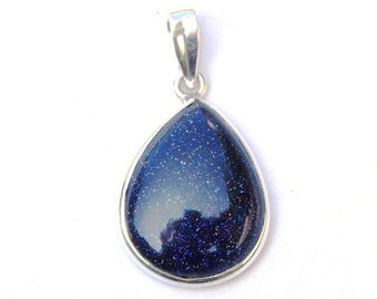 Stunning Hand Made Blue Goldstone Teardrop Sterling Silver Pendant
