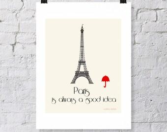 Paris, travel poster, digital download, visit paris, visit France , Paris vacation, Eiffel Tower, red Umbrella, typography