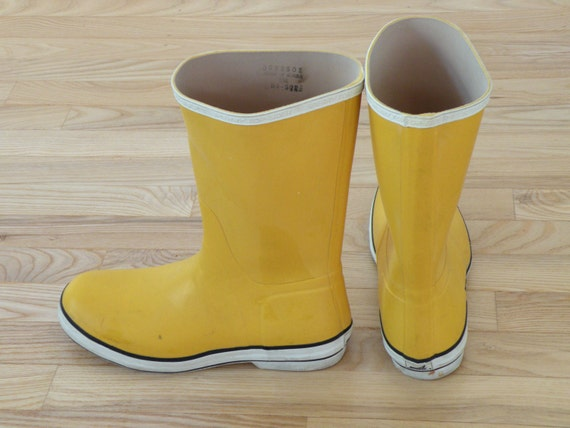 vintage yellow sperry top sider rain boots golashes mens 8