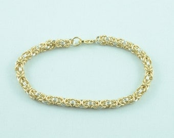 Thin 14K Gold Fill and Sterling Silver Byzanytine weave Bracelet.