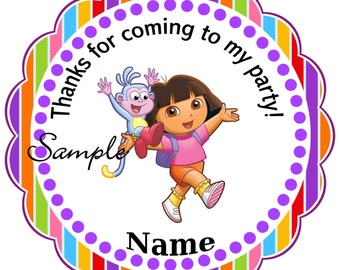 Dora - Personalized Stickers, Party Favor Tags, Thank You Tags, Gift Tags, Birthday Stickers, Birthday, Baby Shower