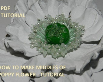 PDF tutorial, Middles of poppy flower, step by step tutorial!