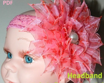 PDF tutorial, fabric flower tutorial, DIY Kanzashi Flower, Organza flower headband tutorial!