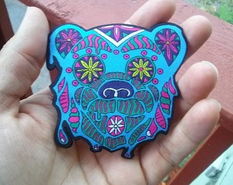 Psychedelic Warrior Bear Patch