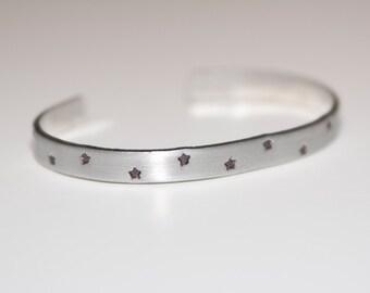 Star Cuff, Hand Stamped Metal Bracelet