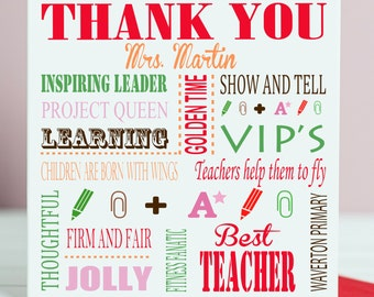 Personalized Thank you Teacher Card