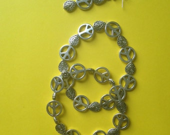 Loveable Peace Sign Bracelet and Earring Set