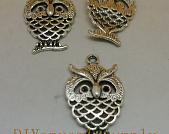 lead and nickel free---20pieces 25x15mm antiqued bronze/silver filigree Owl zinc alloy charms findings