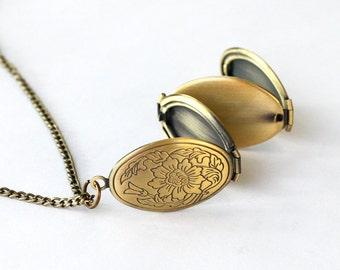Photo locket necklace, secret message necklace jewelry, vintage style four photo locket necklace, can print the message for you