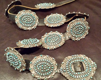 Collectible Native Amercian Zuni Turquoise and Sterling Silver Concho Belt by Valentino and Matilda Banteah Vintage Native American Jewelry