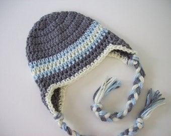 Baby Boy Hat, Ear Flap Hat, Crochet Baby Hat, Baby Newborn Hat, Newborn Photo Prop, Grey Blue Off White, Newborn Hat, Crochet Hat, Baby Boy