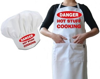 Personalised Chef's Hat And Apron Set, Premium Drill Burn Proof Cotton Personalized with your Cafe, Diner Or A Joke For Dad During The BBQ 4