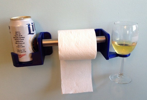 His and Hers Toilet Paper Holder for Beverages 3D Printed