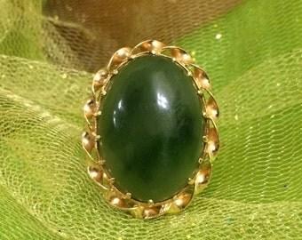 Vintage Gold Jade Ring