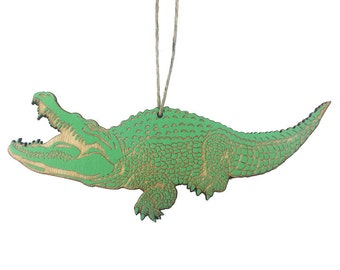 Green Alligator Christmas Ornament
